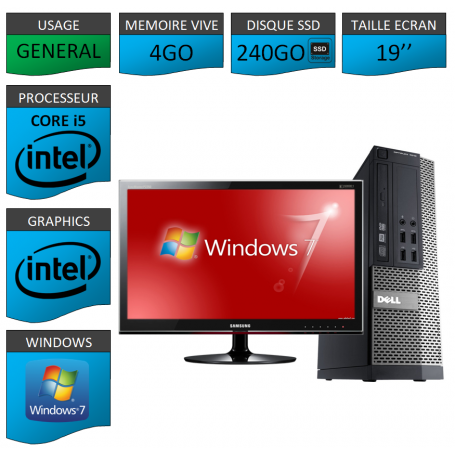 Dell 7010 Core i5 4Go 240SSD Windows 7 Pro Ecran 19