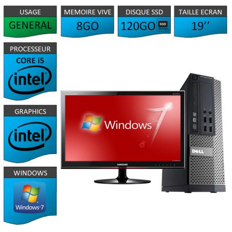 Dell 7010 Core i5 8Go 120SSD Windows 7 Pro Ecran 19