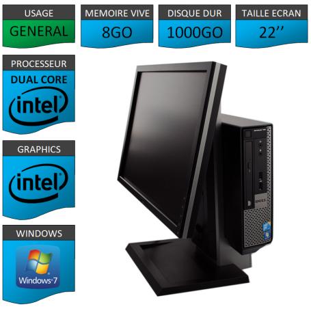 PC DELL USFF 8Go 1000Go Ecran 22'' WINDOWS 7 PRO 64 bits Très Faible Encombrement