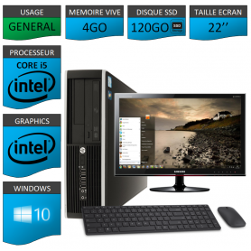 PC HP Core i5 4Go 120SSD Windows 10 Pro Ecran 22 CSF