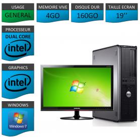 """PC DELL OPTIPLEX 4GO 160GO 19"""" WINDOWS 7 PRO 32 bits"""