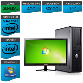 "PC DELL OPTIPLEX 4GO 500GO 19"" WINDOWS 7 PRO 32 bits"