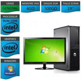 """PC DELL OPTIPLEX 4GO 500GO 19"""" WINDOWS 7 PRO 32 bits"""