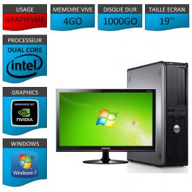 "PC DELL OPTIPLEX 4GO 1000GO 19"" GEFORCE 2GO WINDOWS 7 PRO 32 bits"