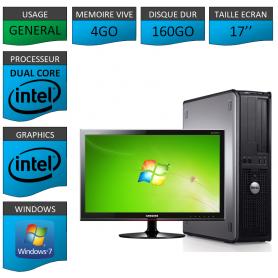 """PC DELL OPTIPLEX 4GO 160GO 17"""" WINDOWS 7 PRO 32 bits"""