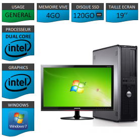 "PC DELL OPTIPLEX 4GO 120SSD 19"" WINDOWS 7 PRO 32 bits"
