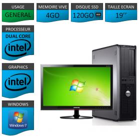 """PC DELL OPTIPLEX 4GO 120SSD 19"""" WINDOWS 7 PRO 32 bits"""
