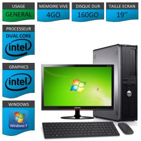 """PC DELL OPTIPLEX 4GO 160GO 19"""" CLAVIER SOURIS FILAIRE WINDOWS 7 PRO 32 bits"""