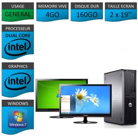 "PC DELL OPTIPLEX 4GO 160GO 2x19"" WINDOWS 7 PRO 32 bits"
