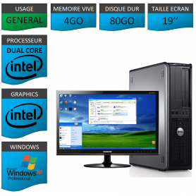 "PC DELL 4GO 80GO 19"" WINDOWS XP PRO 32Bits"