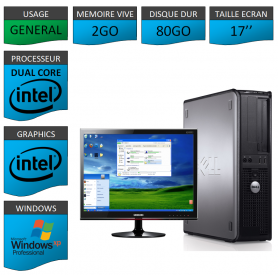 "PC DELL 2GO 80GO 17"" WINDOWS XP PRO 32Bits"