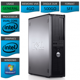 PC DELL OPTIPLEX 4GO 500GO WINDOWS 7 PRO 32 bits