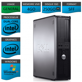 PC DELL 4GO 250SSD WINDOWS XP PRO 32Bits
