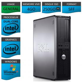 PC DELL 4GO 250SSD WINDOWS XP PRO 32Bits