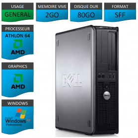 PC DELL OPTIPLEX 740 AMD 2GO 80GO WINDOWS XP PRO 32Bits