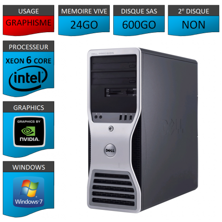 DELL PRECISION Xeon 6 Cores 24Go 600Go Windows 7 Pro 64