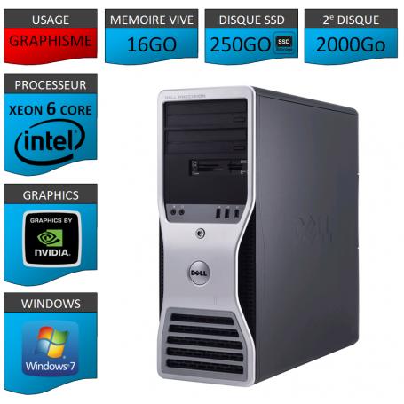 DELL PRECISION Xeon 6 Cores 16Go 250SSD 2000GO Windows 7 Pro 64