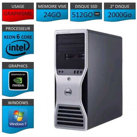 DELL PRECISION Xeon 6 Cores 24Go 512SSD 2000GO Windows 7 Pro 64