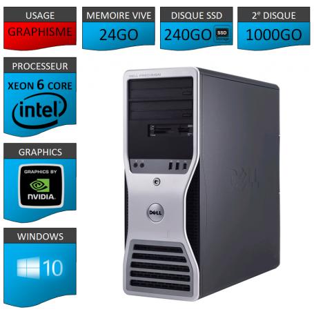 DELL PRECISION Xeon 6 Cores 24Go 240SSD 1000Go Windows 10 Pro 64