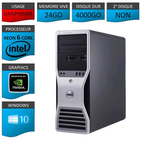 DELL PRECISION Xeon 6 Cores 24Go 4000Go Windows 10 Pro 64