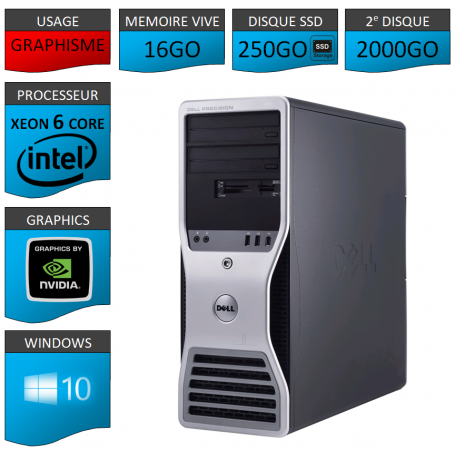 DELL PRECISION Xeon 6 Cores 16Go 250SSD 2000GO Windows 10 Pro 64