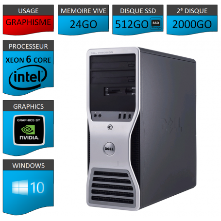 DELL PRECISION Xeon 6 Cores 24Go 512SSD 2000GO Windows 10 Pro 64