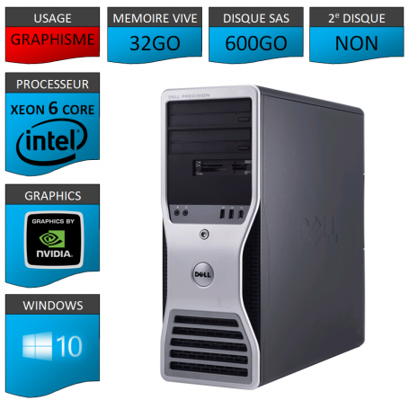 DELL PRECISION Xeon 6 Cores 32Go 600Go Windows 10 Pro 64