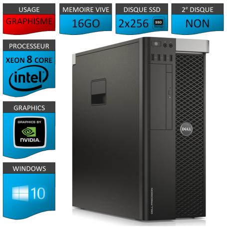 DELL PRECISION T5600 Xeon 8 Cores 16Go 2x256SSD Windows 10 Pro 64