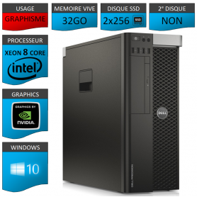 DELL PRECISION T5600 Xeon 8 Cores 32Go 2x256SSD Windows 10 Pro 64