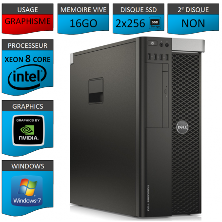 DELL PRECISION T5600 Xeon 8 Cores 16Go 2x256SSD Windows 7 Pro 64