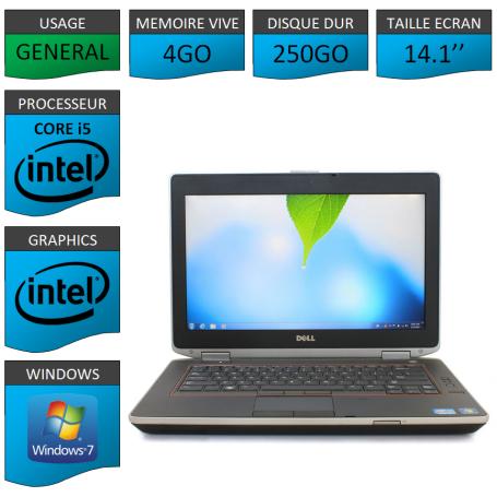 Lot 10 Portables Dell Intel Core i5 4 Coeurs 4Go Windows 7 Pro 64 bits