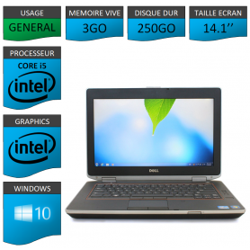 Lot 10 Portables Dell Intel Core i5 4 Coeurs 3Go Windows 10 Pro 64 bits
