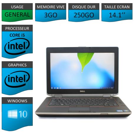 Lot 10 Portables Dell Intel Core i5 4 Coeurs 3Go Windows 10 Pro 64 bits