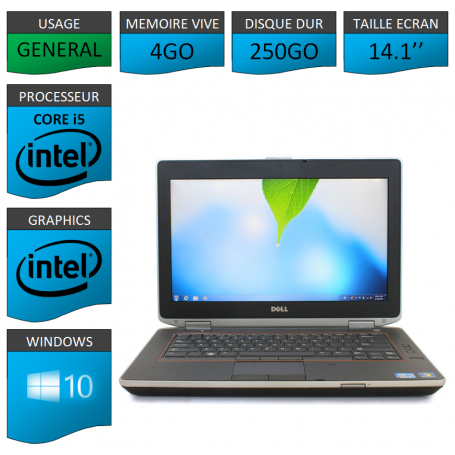 Lot 10 Portables Dell Intel Core i5 4 Coeurs 4Go Windows 10 Pro 64 bits