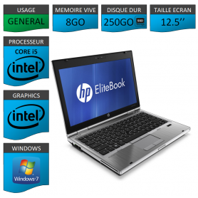 Hp elitebook 2560p Intel Core i5 8Go 250SSD Windows 7 Pro 64Bits