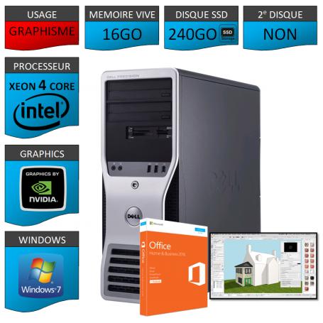 DELL PRECISION T3500 Xeon 4 Cores 16Go 240GoSSD W7P64 OFFICE 2013