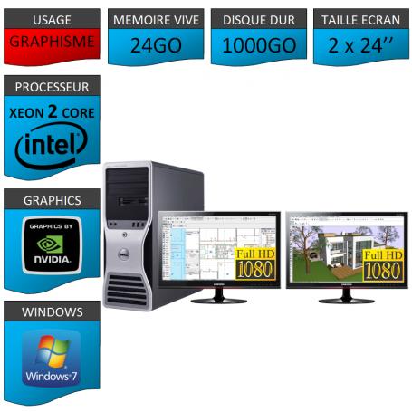 """DELL PRECISION Xeon Dual Core 24Go Windows 7 Pro 64 2 Ecrans 24"""""""