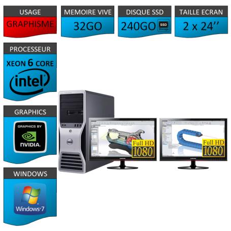 DELL 6 Cores 32Go 240SSD + 2 ecrans 24 TFT Nvidia Quadro 4000