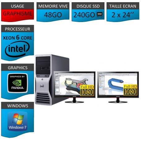 DELL 6 Cores 48Go 240SSD + 2 ecrans 24 TFT Nvidia Quadro 4000