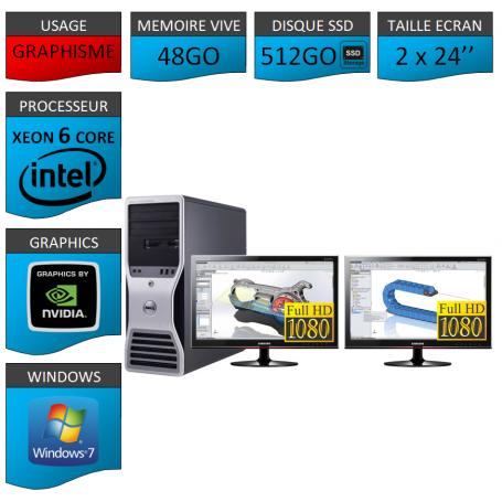 DELL 6 Cores 48Go 512SSD + 2 ecrans 24 TFT Nvidia Quadro 4000