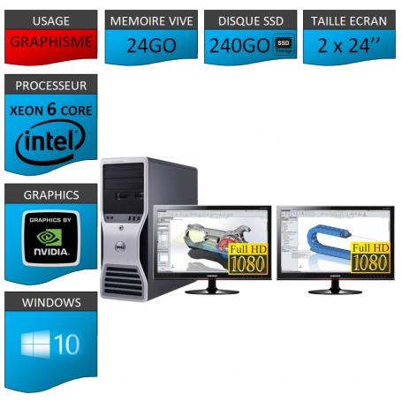 DELL 6 Cores 24Go 240SSD + 2 ecrans 24 TFT Windows 10