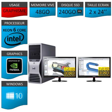 DELL 6 Cores 48Go 240SSD + 2 ecrans 24 TFT Nvidia Quadro 4000 Windows 10