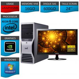 Station de travail Dell avec ecran 24 pouces