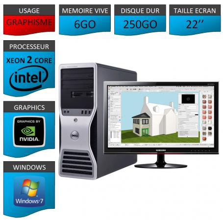 """DELL PRECISION Xeon Dual Core 6Go Windows 7 Pro 64 Ecran 22"""""""