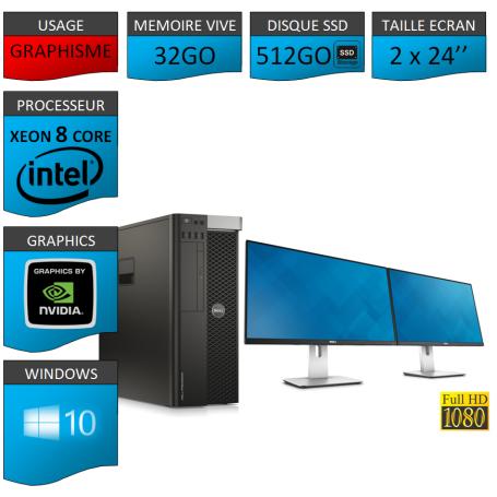 """DELL PRECISION T5600 Xeon 8 Cores 32Go 2x256SSD Windows 10 Pro 64 2x24"""""""