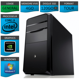 PC NEUF Core i3 4Go 120Go SSD Geforce 1Go Windows 7 Pro 32 bits