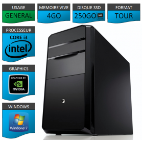 PC NEUF Core i3 4Go 250Go SSD Geforce1Go Windows 7 32 bits