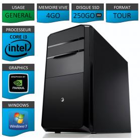 PC NEUF Core i3 4Go 250Go SSD Geforce1Go Windows 7 32 bits
