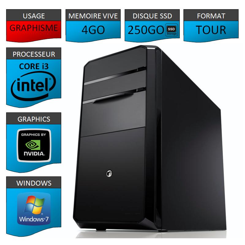 PC NEUF Core i3 4Go 250Go SSD Geforce 2Go