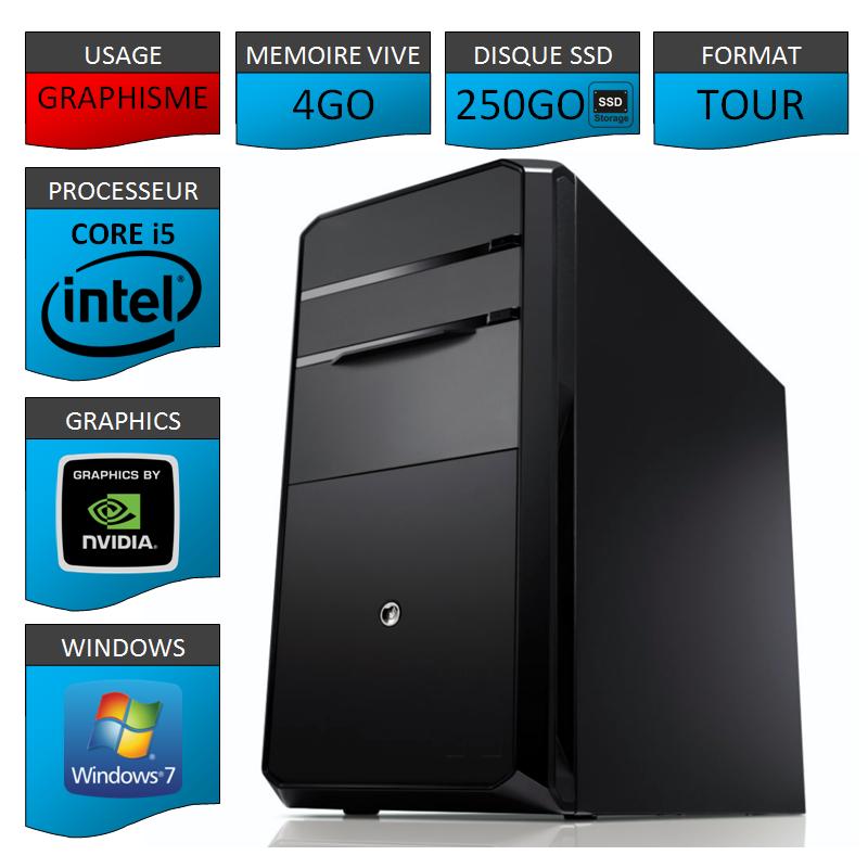 PC NEUF Core i5 4Go 250Go SSD Geforce 2Go